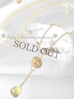 画像1: 宝石2色グロッシュラーガーネットのネックレス
