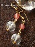 SAインカローズと桜水晶のシンプルピアス