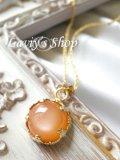 オレンジムーンストーンの1粒ネックレス