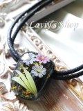 〜匠〜枝垂れ蜻蛉玉のワックスコードネックレス(漆黒)