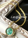 非処理/ザンビア産宝石エメラルドの1粒ベゼルデザインネックレス