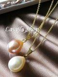 天然色!真珠屋さんの雫パール1粒デザインネックレス