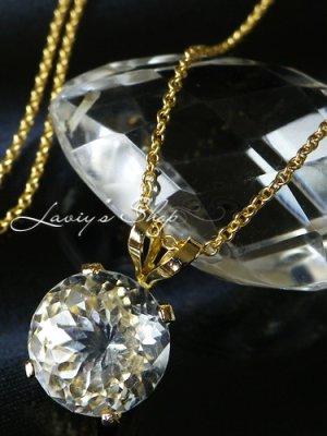 画像1: レアカット!国産水晶の1粒ネックレス