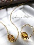 宝石シトリンのアクセサリーセット(ネックレス&リング)