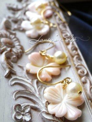 画像3: コンクシェルフラワーとアコヤ真珠のピアス