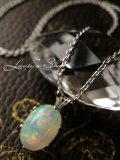 Silver925/美麗!エチオピア産オパールの1粒ネックレス