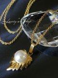 天然色!バロックアコヤ真珠のリーフネックレス
