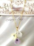 非加熱サファイアとヴィンテージフラワーのネックレス(ブーケ紫)