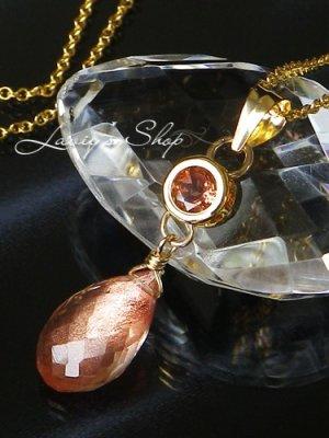画像1: サンセットオレンジサファイアとオレゴンサンストーンのネックレス
