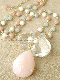 ピンクオパールとパステルストーンのネックレス