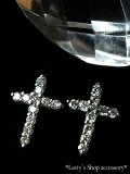 K18WG/ダイヤモンドのクロスピアス