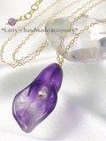 紫水晶華のシンプルネックレス