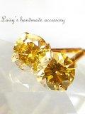K18/ゴールデンイエローダイヤモンドのスタッドピアス