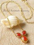 日本近海産/血色サンゴのデザインネックレス