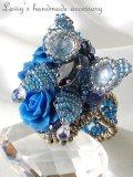 青薔薇と蝶のリング(青錆色)