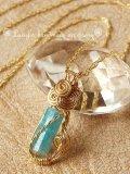 パライバトルマリン原石のワイヤリングトップネックレス