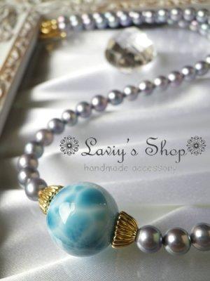 画像1: 大珠高品質ラリマールとアコヤパールのネックレス