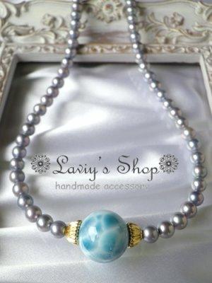 画像3: 大珠高品質ラリマールとアコヤパールのネックレス
