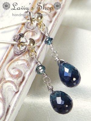 画像3: K14WG/雫インディコライトとブルーダイヤモンドのピアス