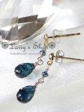 K14WG/雫インディコライトとブルーダイヤモンドのピアス