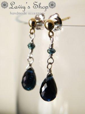 画像5: K14WG/雫インディコライトとブルーダイヤモンドのピアス