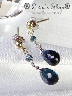 画像2: K14WG/雫インディコライトとブルーダイヤモンドのピアス