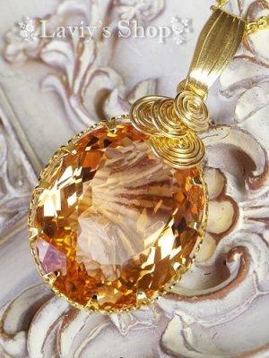 画像3: 大粒ベルヌーイファンシーオレンジサファイアのベゼルワイヤートップNK