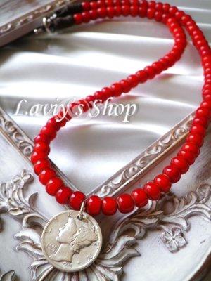 画像1: アンティークメダルとインディアンビーズのネックレス