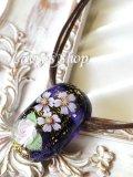 〜匠〜枝垂れ蜻蛉玉のワックスコードネックレス(紺藍)