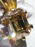 K14/エメラルドカットダイヤモンドのペンダントトップ