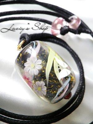 画像1: 〜匠〜蜻蛉玉のワックスコードネックレス(ロング)