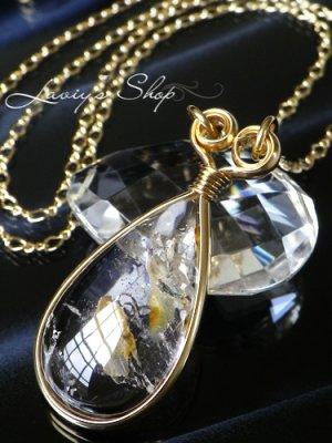 画像1: 太古の浪漫!大粒バブルinクォーツのデザインネックレス