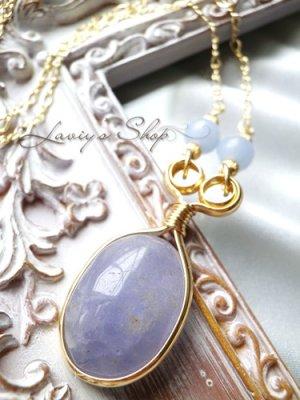 画像1: 無染色!大粒ラベンダー翡翠のデザインネックレス