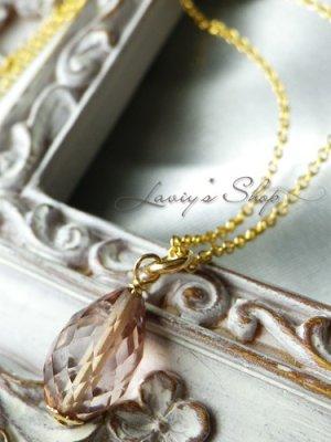 画像1: 宝石トルマリンブリオレットの1粒ネックレス(シャンパーニュ)