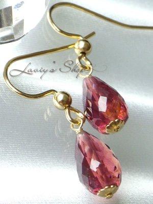 画像1: 宝石トルマリンブリオレットの1粒ピアス(ルべ)