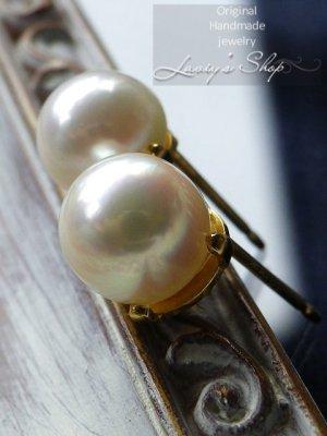 画像2: 天然色!アコヤ真珠の1粒ピアス