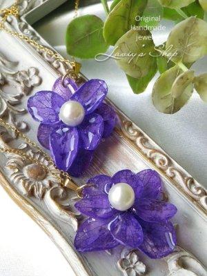 画像4: Real flower accessory*紫陽花とアコヤ真珠のネックレス