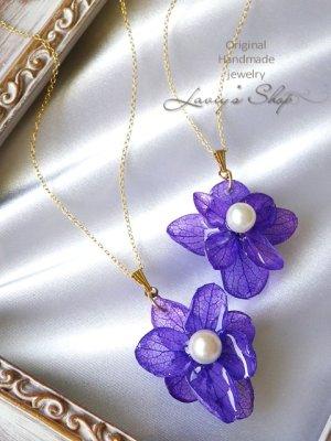 画像2: Real flower accessory*紫陽花とアコヤ真珠のネックレス