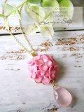 紫陽花の雨粒ネックレス(ローズクォーツ)