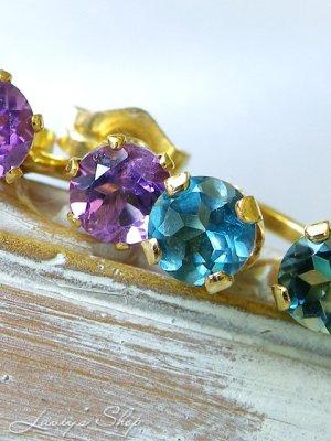 画像4: 宝石ロンドンブルーブルートパーズとアメジストの2wayスタッドピアス