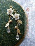 『桜ものがたり』ローズクォーツと桜の吹雪ピアス