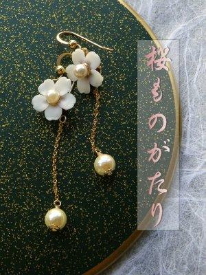 画像1: 『桜ものがたり』アコヤ真珠と桜のチェーンピアス