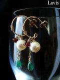 エメラルドとアコヤ本真珠のピアス