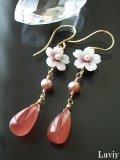 Gemインカローズと桜のピアス