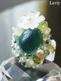 グリーンカルセドニーと水晶花のリング