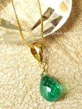 K18/逸品コロンビア産宝石エメラルドの1粒ネックレス