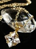 プリンセスカットハーキマーダイヤモンドの1粒ネックレス