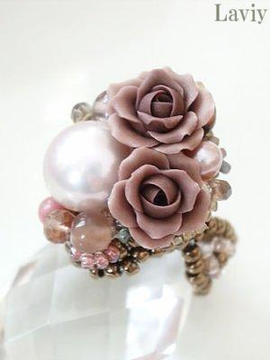 画像1: ピンクパールと薔薇のクラシカルリング