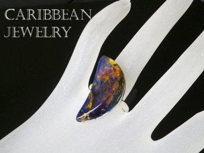 画像3: 大粒高品質ブルーアンバーのリング(クレセント)