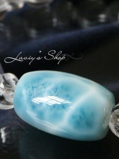 画像1: 高品質ナツメシェイプラリマールと水晶のスピリチュアルデザインブレスレット